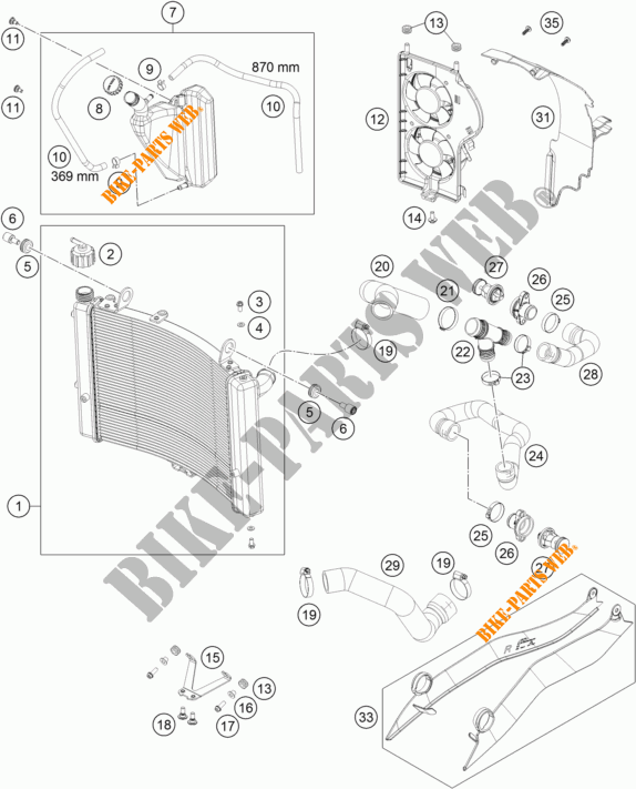 COOLING SYSTEM for KTM 1050 ADVENTURE ABS 2015
