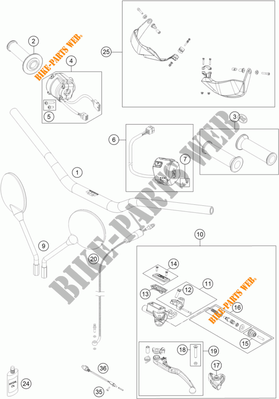 HANDLEBAR / CONTROLS for KTM 1050 ADVENTURE ABS 2015