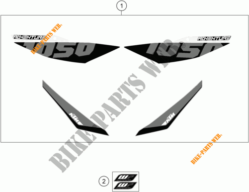 STICKERS for KTM 1050 ADVENTURE ABS 2015