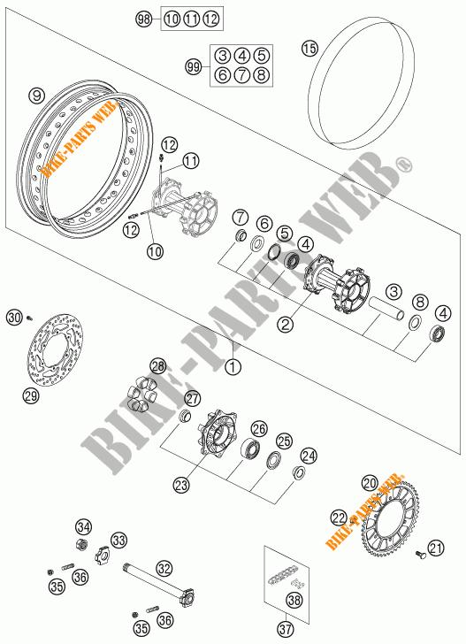 Rear Wheel For Ktm 950 Adventure Black Low 2004   Ktm