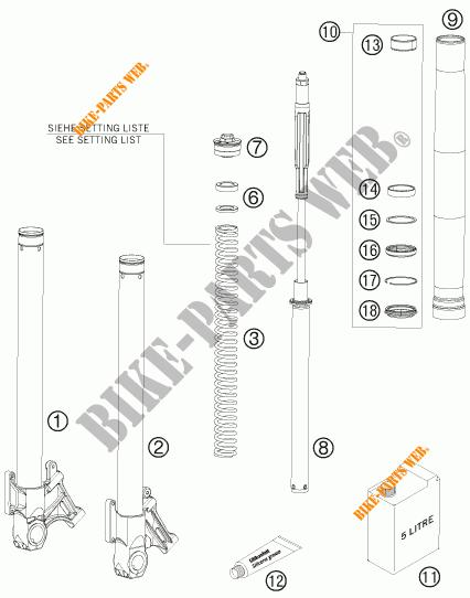 front fork  parts  for ktm 950 supermoto r 2008   ktm