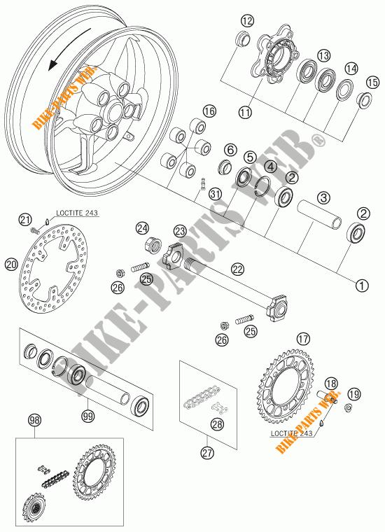 rear wheel for ktm 950 supermoto r 2007   ktm