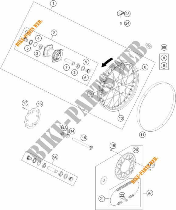Rear Wheel For Ktm Freeride 250 R 2015   Ktm