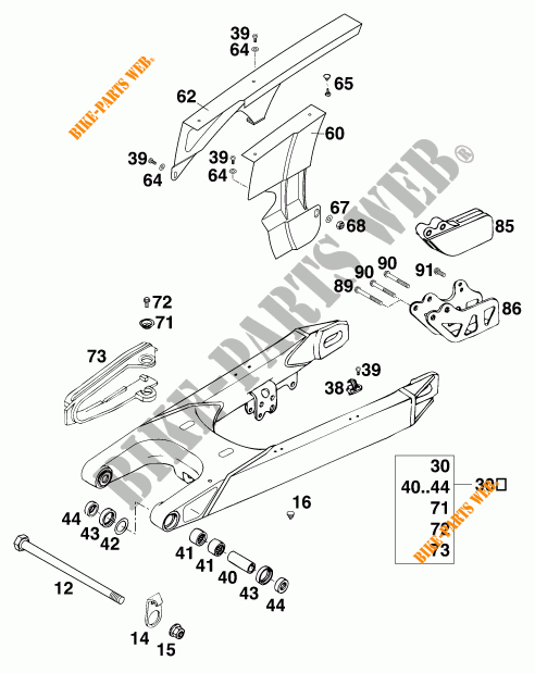 SWINGARM for KTM 620 EGS-E 37KW 20LT ROT 1997