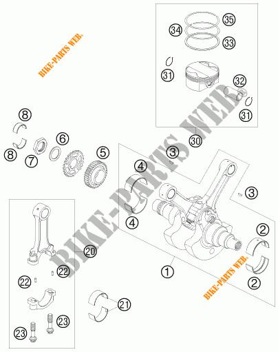 Crankshaft    Piston For Ktm 990 Super Duke White 2008