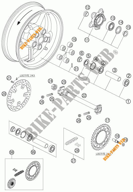 Rear Wheel For Ktm 990 Super Duke Black 2005   Ktm