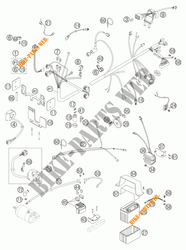 Wiring Harness For Ktm 640 Duke Ii Black 2004   Ktm
