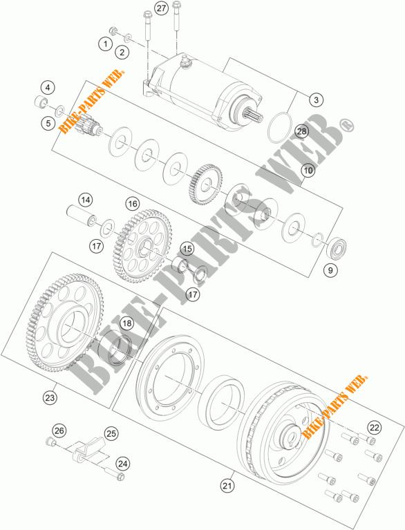 Electric Starter Motor For Ktm 1290 Super Duke Gt Orange