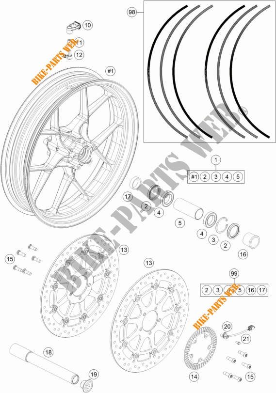 Front Wheel For Ktm 1290 Super Duke Gt Orange 2017   Ktm