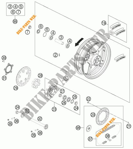 Rear Wheel For Ktm 690 Duke White 2012   Ktm