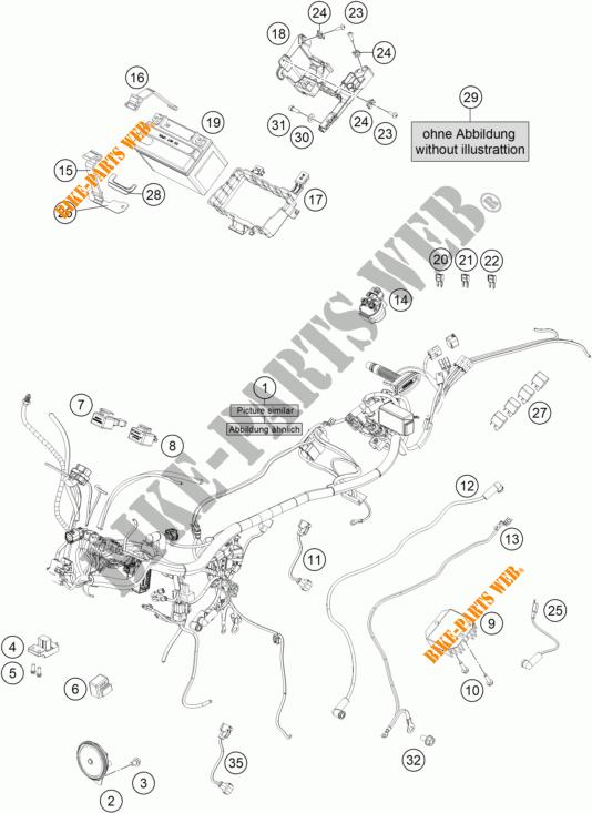 Wiring Harness For Ktm 390 Duke White 2017   Ktm