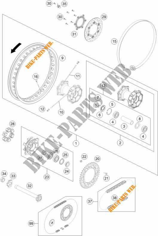Rear Wheel For Ktm 690 Enduro R Abs 2014   Ktm